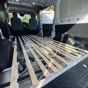 Polystyrene and Plywood Van Floor